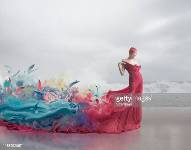 muse and femininity - multi colored dress stock pictures, royalty-free photos & images
