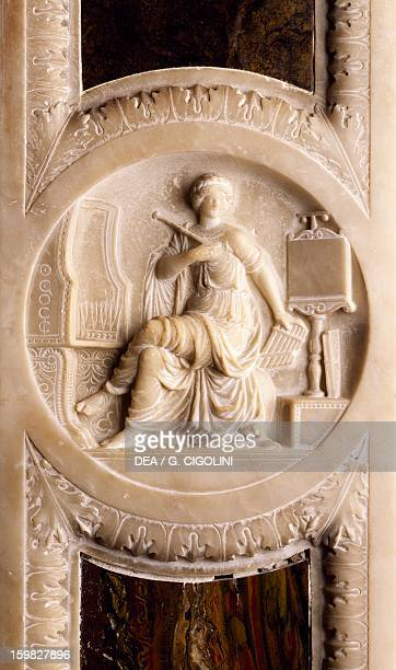 Muse, bas-relief, Grotta wing doorway, Isabella D'Este's widow's apartment, Palazzo Ducale, Mantua. Italy, 16th century.