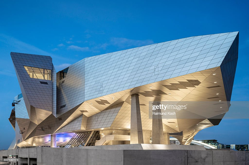 Modern museum architecture at night in Lyon, France