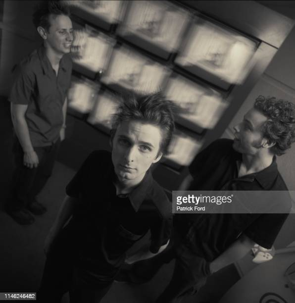 Muse, group portrait, MTV, Camden, London, 2000. Left to right Dominic Howard, Matt Bellamy, Chris Wolstenholme.