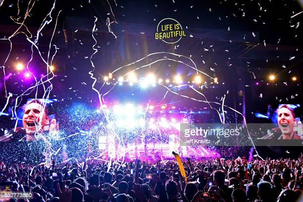 Muse performs on Downtown Stage during day 2 of the 2017 Life Is Beautiful Festival on September 23 2017 in Las Vegas Nevada