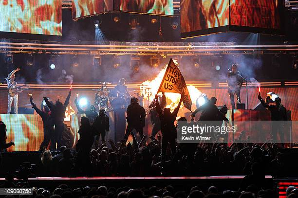 Muse performs onstage during The 53rd Annual GRAMMY Awards held at Staples Center on February 13, 2011 in Los Angeles, California.
