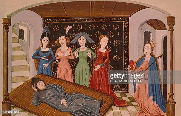 Muses visiting Boethius in prison miniature from The Consolation of Philosophy by Severino Boethius miniature France 15th Century