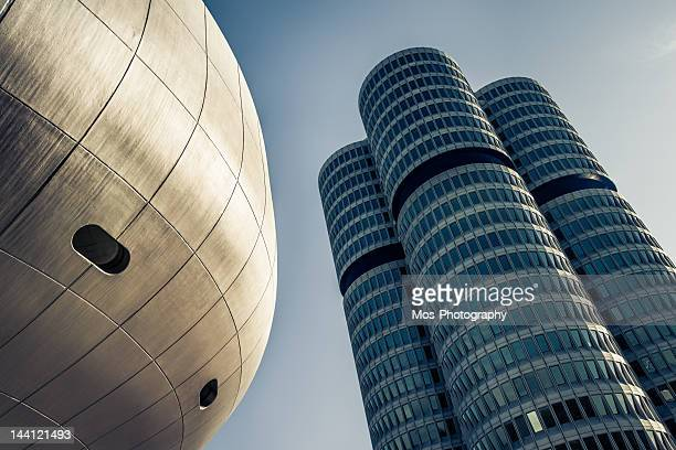 bmw museum and tower - munich stock pictures, royalty-free photos & images