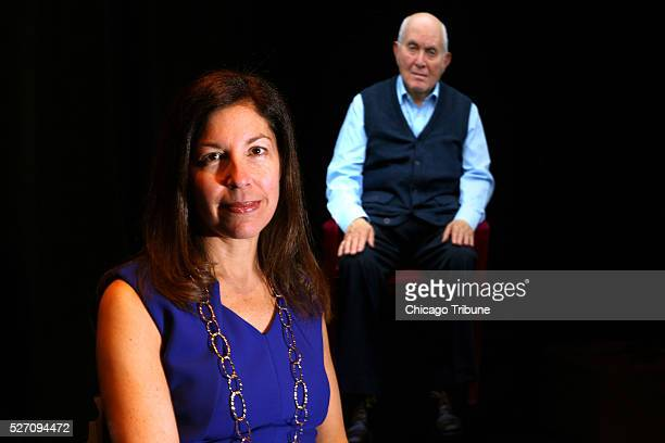Museum CEO Susan Abrams sits before a high definition electronic version of holocaust survivor Pinchas Gutter at the Illinois Holocaust Museum on...
