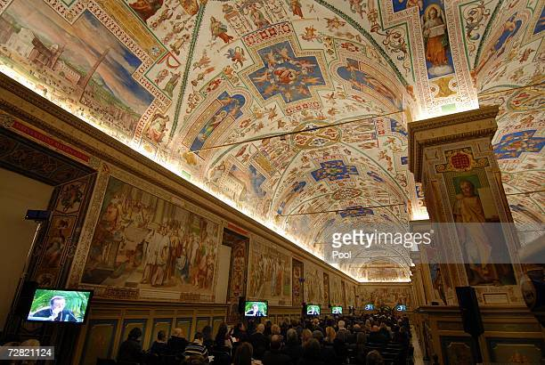 Museum directors attend the opening of the worldwide biggest Museum Congress at the Sistine Chapel, December 13 in Vatican City.