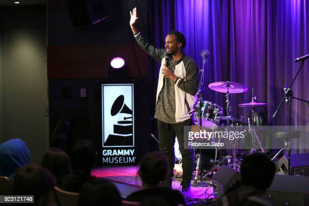 Museum Education Coordinator Schyler O'Neal introduces Backstage Pass X's DJ Bonebrake and Exene Cervenkaa at The GRAMMY Museum on February 22 2018...