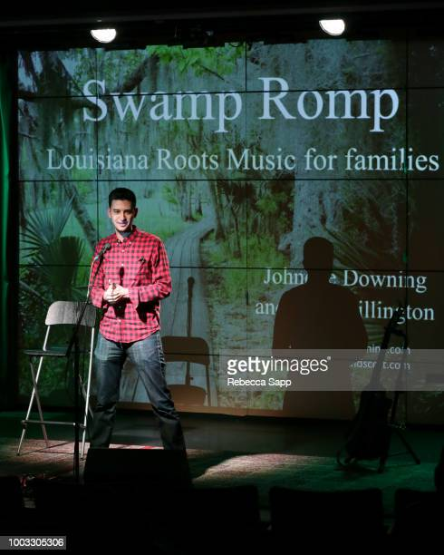 Museum Education Program Manager Adam LeBow speak onstage at Swamp Romp Louisiana Roots Music for Families at The GRAMMY Museum on July 21 2018 in...