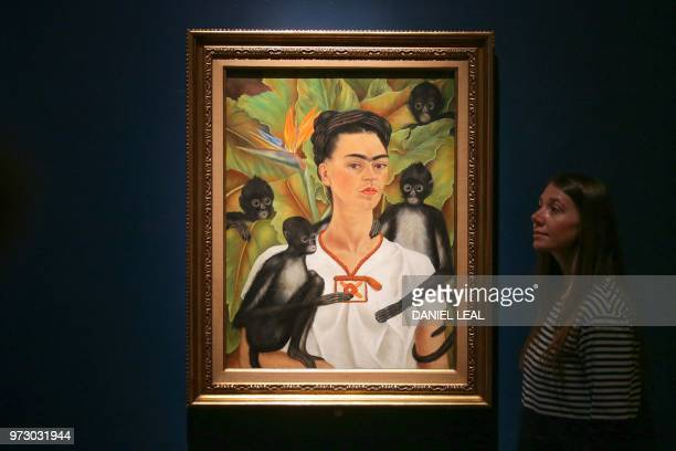 A museum employee poses in front of an artwork entitled Selfportrait with Monkeys Frida Kahlo Coyoacan Mexico during an exhibition entitled 'Frida...