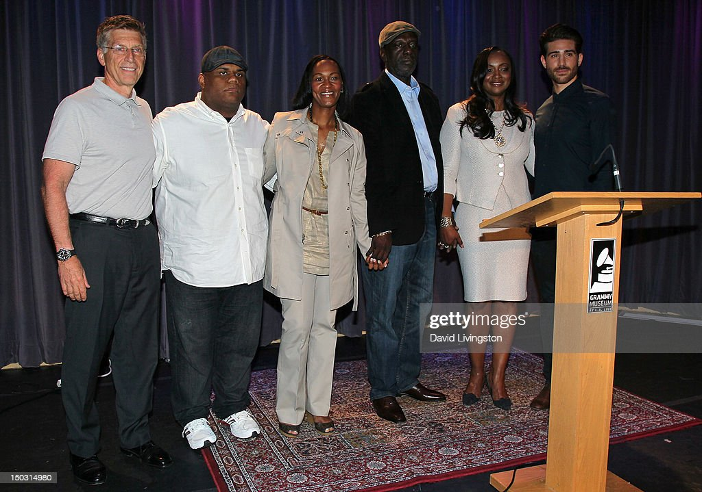 Museum executive director Bob Santelli, Ulysses Carter, Donna Houston, Gary Houston, Pat Houston and exhibit co-curator Jake Santelli attend the GRAMMY Museum press event for 'Whitney! Celebrating the Musical Legacy of Whitney Houston' at The GRAMMY Museum on August 15, 2012 in Los Angeles, California.