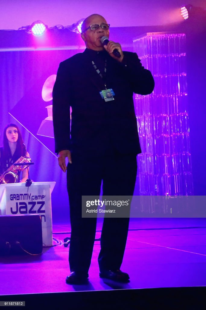 Museum® Executive Education Director David R. Sears speaks on stage at the 60th Annual GRAMMY Awards Celebration at Marriott Marquis Hotel on January 28, 2018 in New York City.