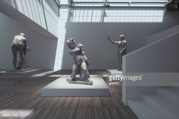 museum exhibition with ancient sculptures - exhibition stock pictures, royalty-free photos & images