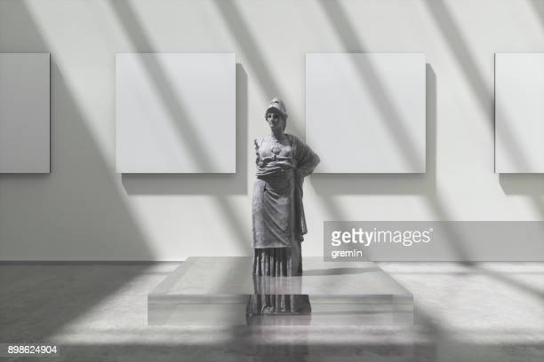 museum exhibition with athena sculpture - sculpture stock pictures, royalty-free photos & images