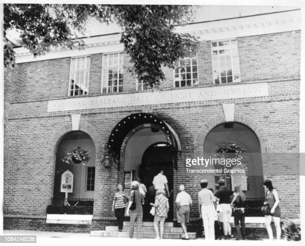 Museum goers anter the National Baseball Hall of Fame and Museum, Cooperstown, New York, summer 1939.