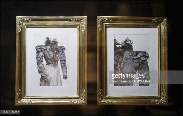 Museum Is Devoted To Empress Sissi In Hofburg Palace On May 1 2004 In Vienna Austria Two Photographs Of The Dress Worn By Sissi The Day She Was...