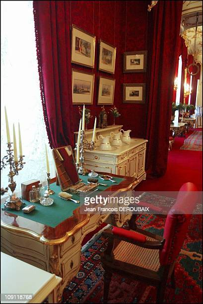 Museum Is Devoted To Empress Sissi In Hofburg Palace On May 1 2004 In Vienna Austria The Empress' Hygiene Cupboard And Small Desk In Her Personal...