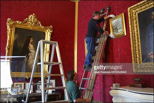Museum Is Devoted To Empress Sissi In Hofburg Palace On May 1 2004 In Vienna Austria Last Minute TouchUp Work On A Small Lounge Before The Opening Of...