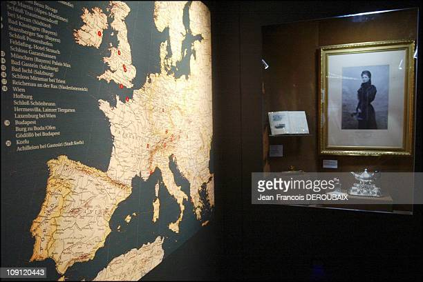 Museum Is Devoted To Empress Sissi In Hofburg Palace On May 1 2004 In Vienna Austria Map Of Sissi'S Numerous Journeys In The Showcase Window Several...