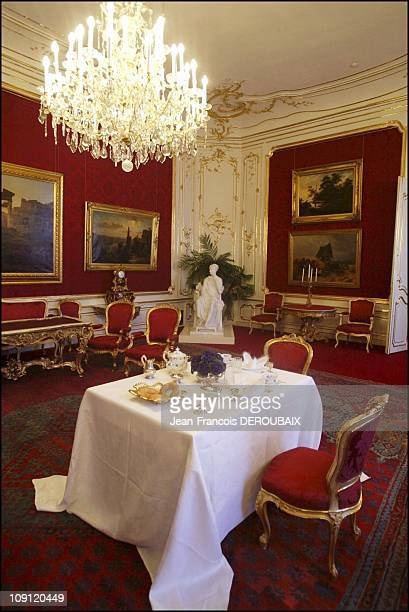 Museum Is Devoted To Empress Sissi In Hofburg Palace On May 1 2004 In Vienna Austria In The Large Red Lounge A Table Laid As When The Imperial Couple...