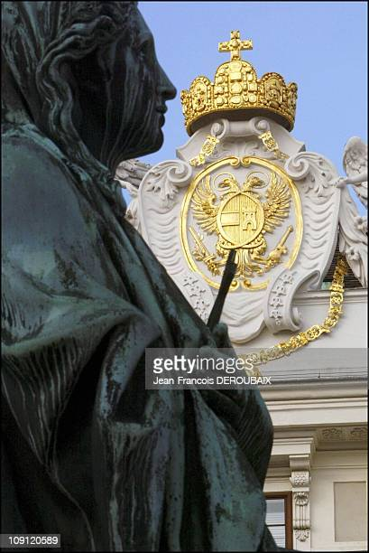 Museum Is Devoted To Empress Sissi In Hofburg Palace On May 1 2004 In Vienna Austria Statue And Pediment Wearing The Hapsburgs' Blazon In The Inner...