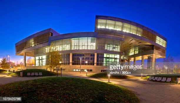 museum of contemporary art in zagreb exterior - museum of contemporary art stock pictures, royalty-free photos & images