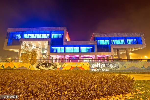museum of contemporary art in zagreb - museum of contemporary art stock pictures, royalty-free photos & images
