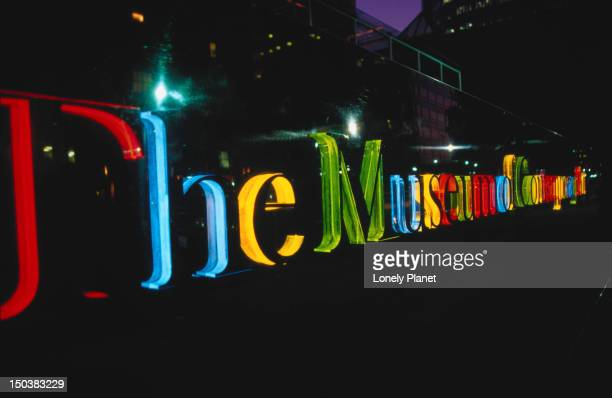 museum of contemporary art (moca) sign. - los angeles museum of contemporary art stock pictures, royalty-free photos & images