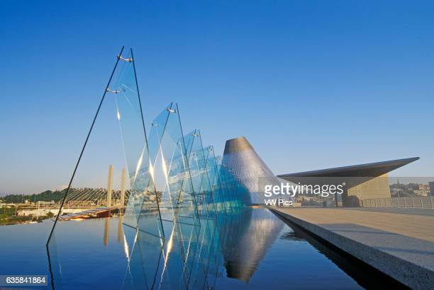 Museum of Glass and its outdoor reflecting pool Tacoma Washington