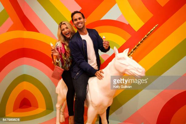 Museum of Ice Cream visitors pose for a photo during the opening party on September 15 2017 in San Francisco California