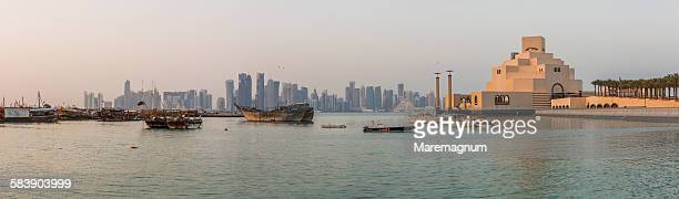 museum of islamic art (mia) and dhow harbour - doha stock pictures, royalty-free photos & images