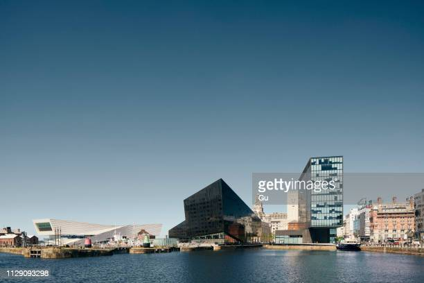 museum of liverpool, three graces, royal albert dock, mann island, liverpool, uk - merseyside stock pictures, royalty-free photos & images