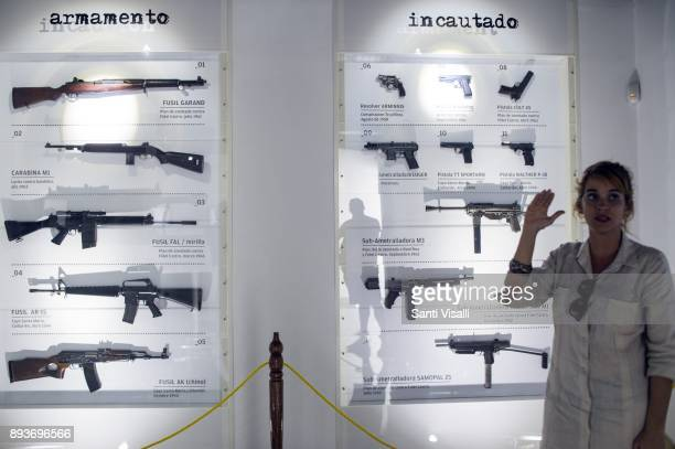 Museum of Memory guide shows arms used by saboteurs on November 10 2017 in Havana Cuba