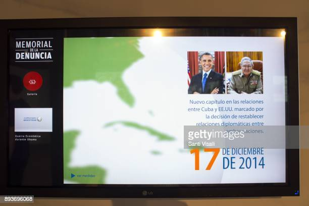 Museum of Memory poster of Obama visiting Cuba on November 10 2017 in Havana Cuba