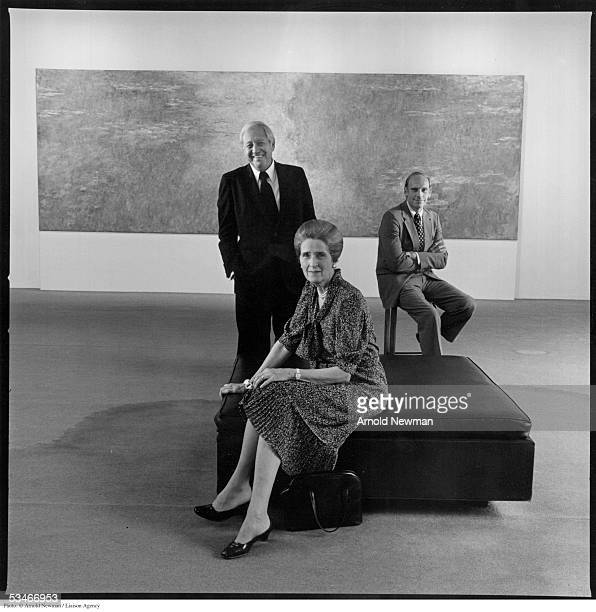 Museum of Modern Art executives Blanchette Rockefeller William S Paley and Richard Oldenberg pose for a portrait at the museum July 11 1979 in New...