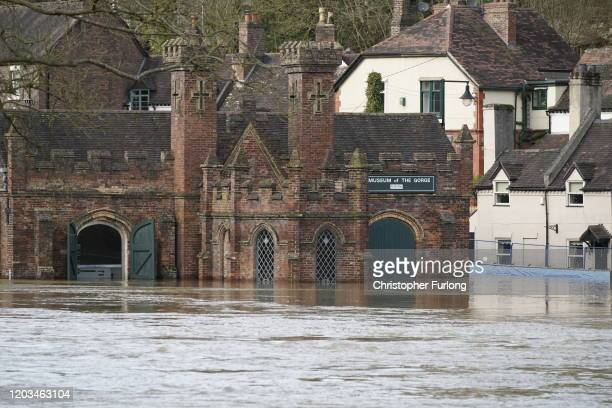 Museum of The Gorge is seen as temporary flood barriers are overwhelmed by flood water from the River Severn on February 26, 2020 in Ironbridge,...