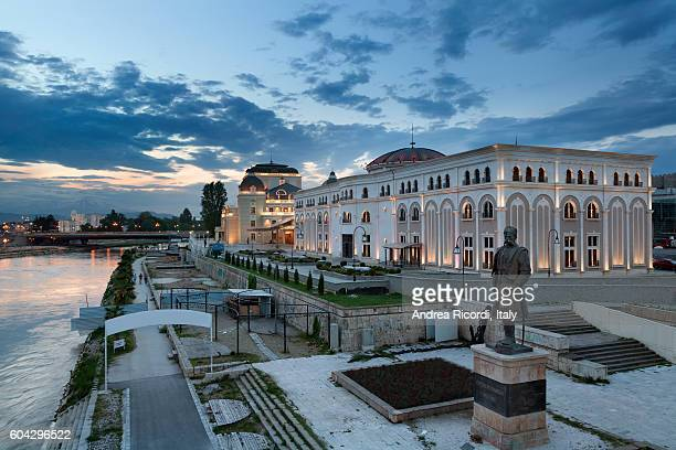 museum of the macedonian struggle and national theatre, skopje - skopje stock pictures, royalty-free photos & images