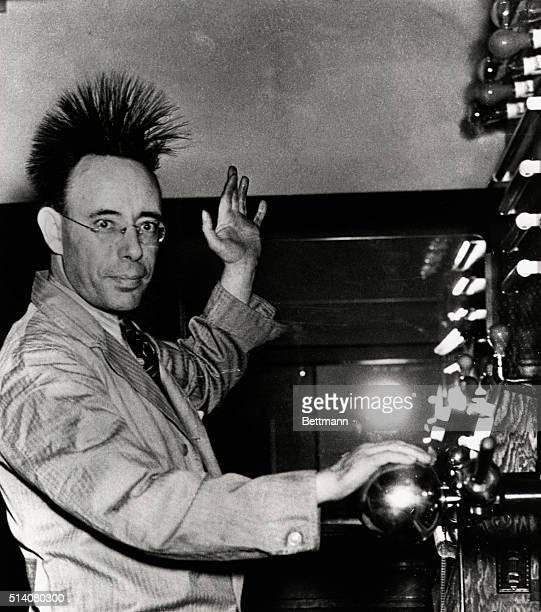 Museum patron Thomas Jackson touches a globe on the Cabot Hotz Electro Static Machine and feels his hair stand on end due to the harmless 500,000...