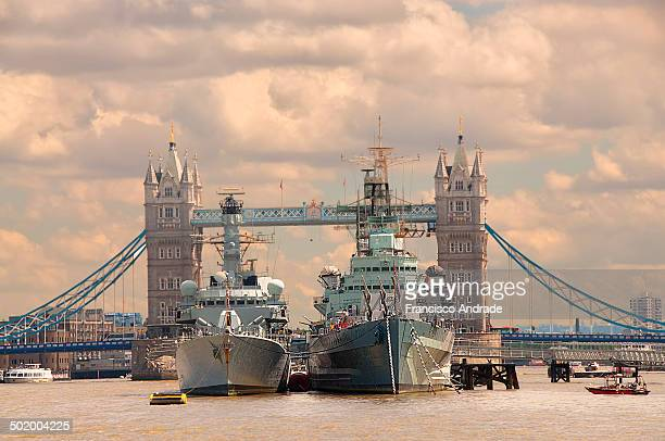 Museum Ship HMS Belfast on the River Thames in London, England.