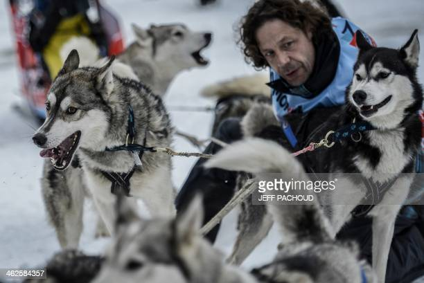 A musher and his dogs are pictured before the start of a stage of the Grande Odyssee sledding race across the Alps on January 13 2014 in...