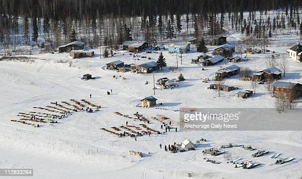 Mushers and their dogs rest at the checkpoint in Nikolai Alaska on Tuesday March 9 during the 2010 Iditarod Sled Dog Race
