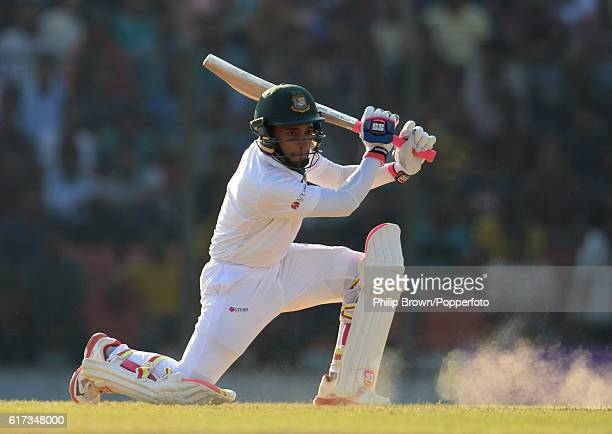 Mushfiqur Rahim bats during the fourth day of the first test match between Bangladesh and England at Zohur Ahmed Chowdhury Stadium on October 23 2016...