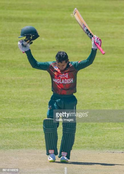 Mushfiqur Rahim of Bangladesh after reaching his 100 during the 1st Momentum ODI match between South Africa and Bangladesh at Diamond Oval on October...