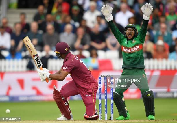 Mushfiqur Rahim of Bangladesh appeals for the wicket of Evin Lewis of West Indies during the Group Stage match of the ICC Cricket World Cup 2019...