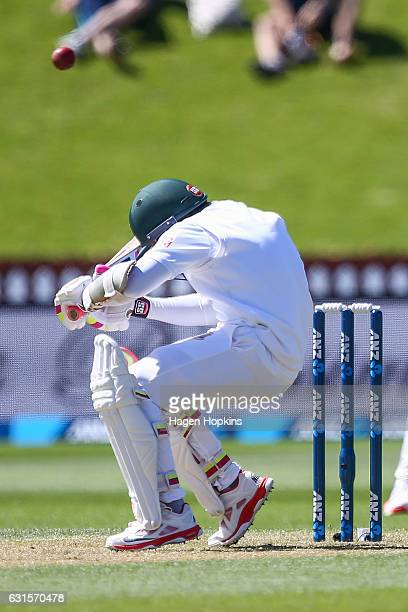 Mushfiqur Rahim of Bangladesh avoids a bouncer during day two of the First Test match between New Zealand and Bangladesh at Basin Reserve on January...