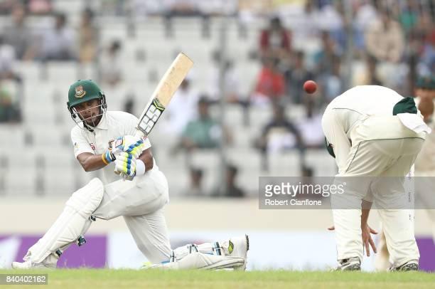 Mushfiqur Rahim of Bangladesh bats during day three of the First Test match between Bangladesh and Australia at Shere Bangla National Stadium on...