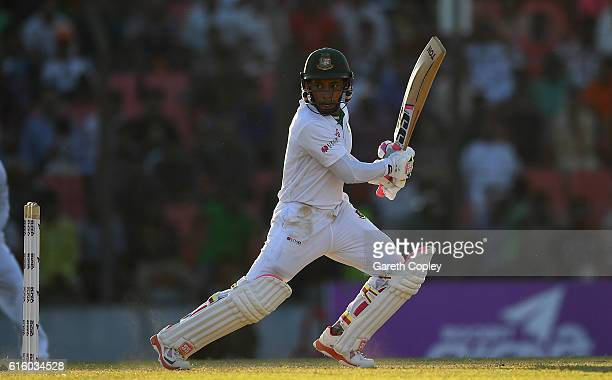 Mushfiqur Rahim of Bangladesh bats during day two of the first Test between Bangladesh and England at Zohur Ahmed Chowdhury Stadium on October 21...