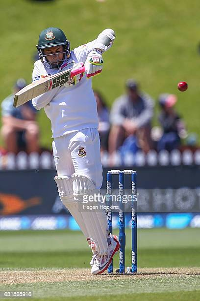 Mushfiqur Rahim of Bangladesh bats during day two of the First Test match between New Zealand and Bangladesh at Basin Reserve on January 13 2017 in...
