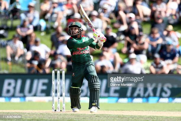 Mushfiqur Rahim of Bangladesh bats during Game 3 of the One Day International series between New Zealand and Bangladesh at University Oval on...