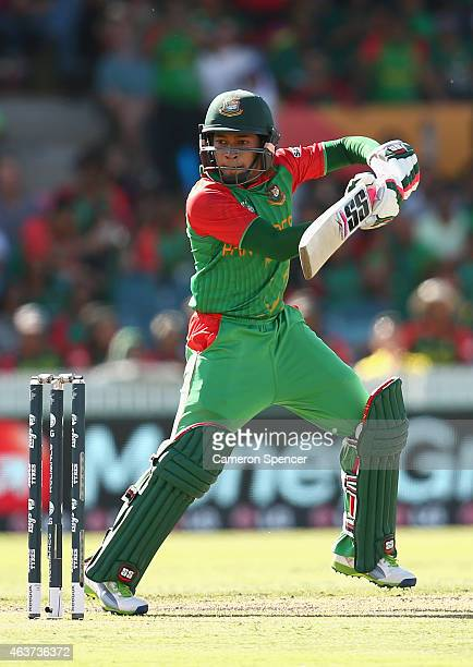 Mushfiqur Rahim of Bangladesh bats during the 2015 ICC Cricket World Cup match between Bangladesh and Afghanistan at Manuka Oval on February 18 2015...