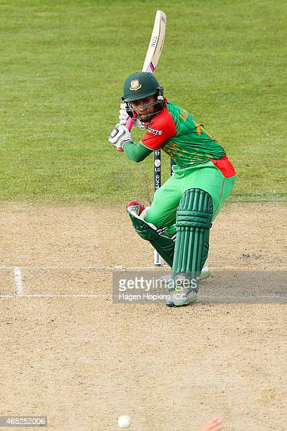 Mushfiqur Rahim of Bangladesh bats during the 2015 ICC Cricket World Cup match between Bangladesh and Scotland at Saxton Field on March 5 2015 in...